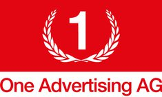 One Advertising AG Logo (rechteckig, rote Schrift)
