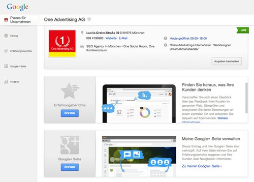Das neue Google+ Local Dashboard