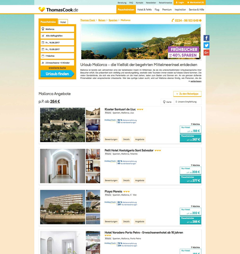 TYPO3 Portal ThomasCook.de