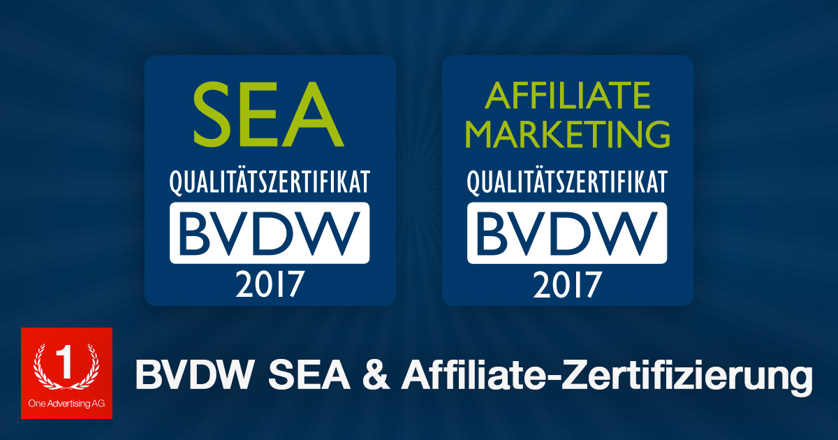 BVDW SEA- und Affiliate-Marketing-Zertifikate 2017