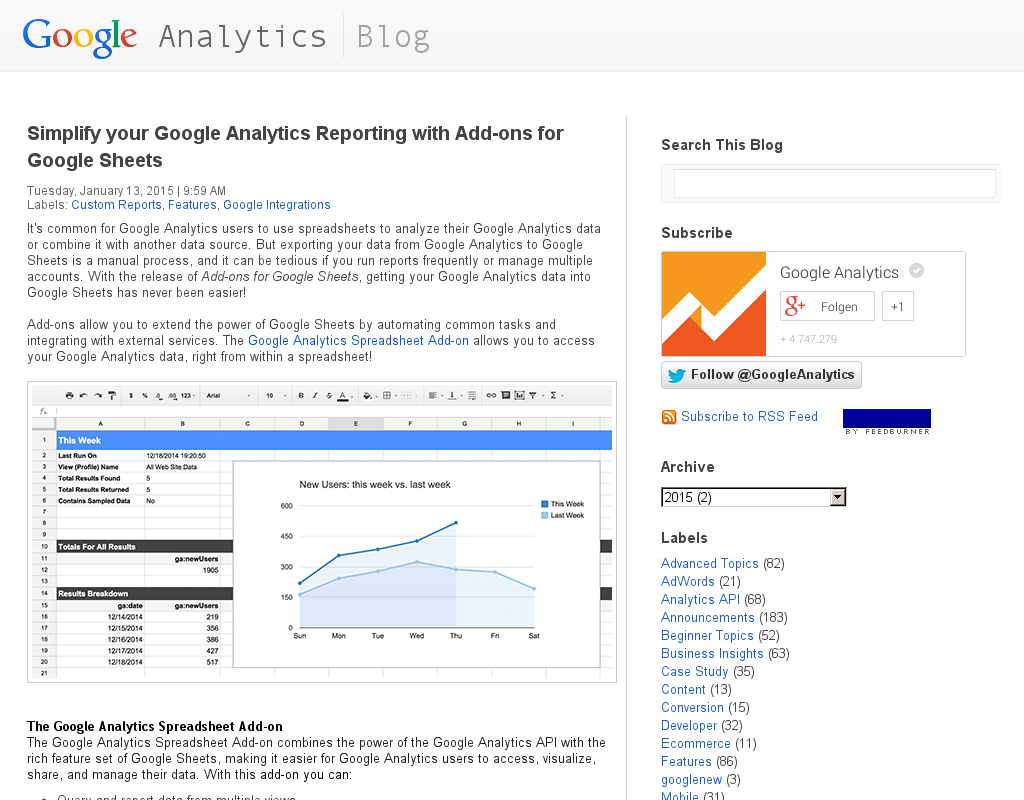 Analytics: Google Analytics Daten in GDocs per API importieren