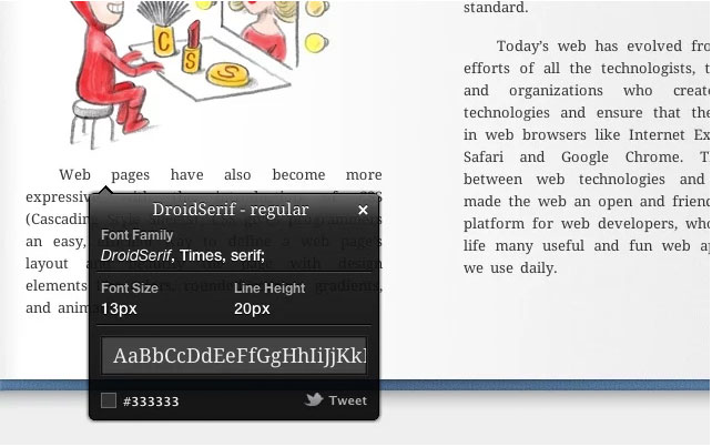 Webtypographie: WhatFont-Extension