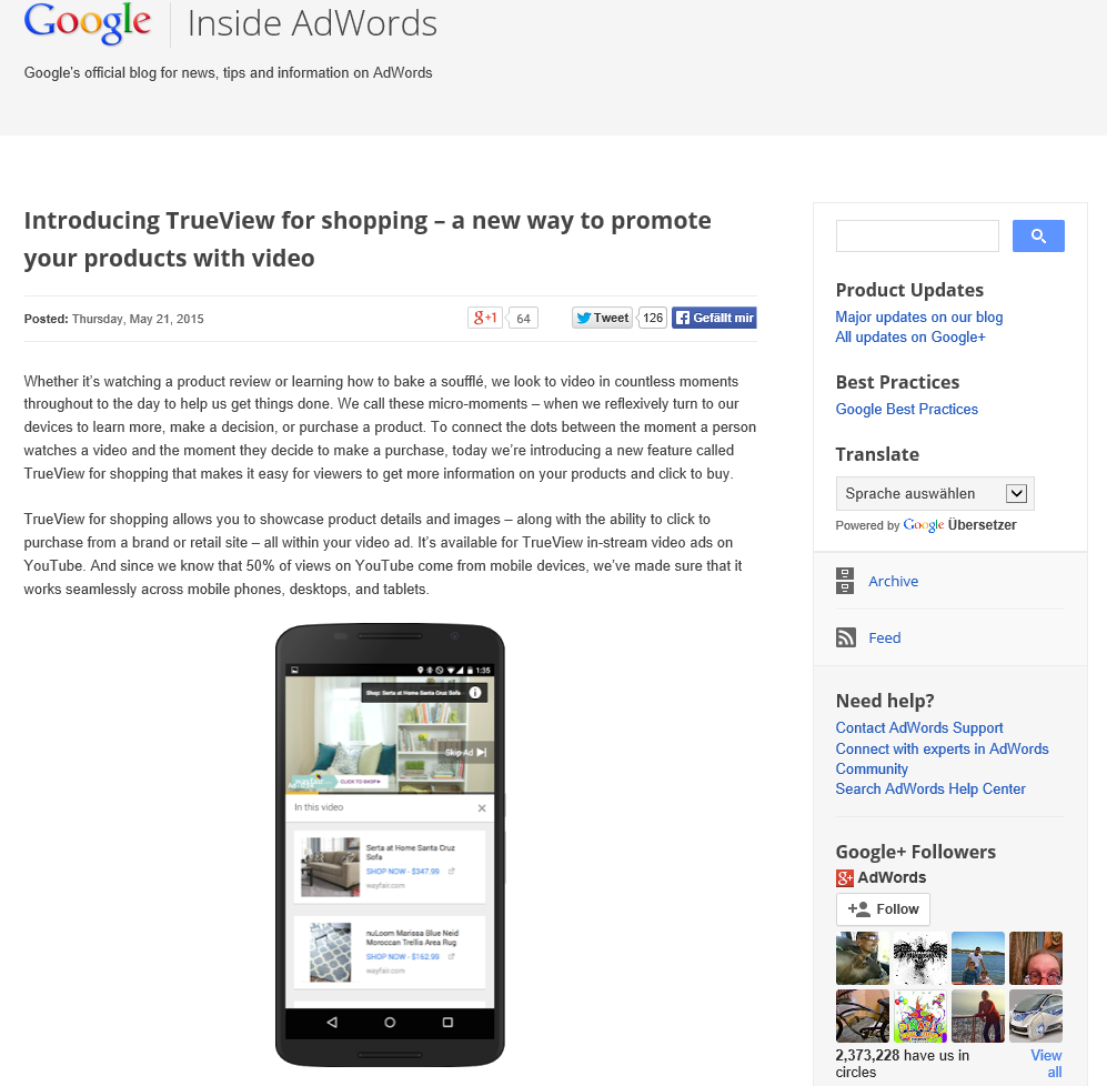 SEA: AdWords mit TrueView for Shopping